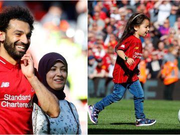Mohamed Salah, su mujer y su hija en Anfield