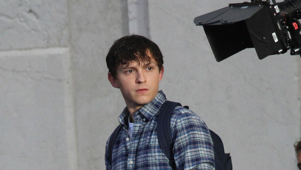 Tom Holland en el rodaje de 'SpiderMan: Lejos de casa'