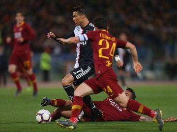 Cristiano con Florenzi durante el Roma-Juventus