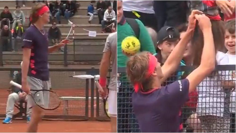 Alexander Zverev y su bonito gesto con una niña en el Masters de Roma
