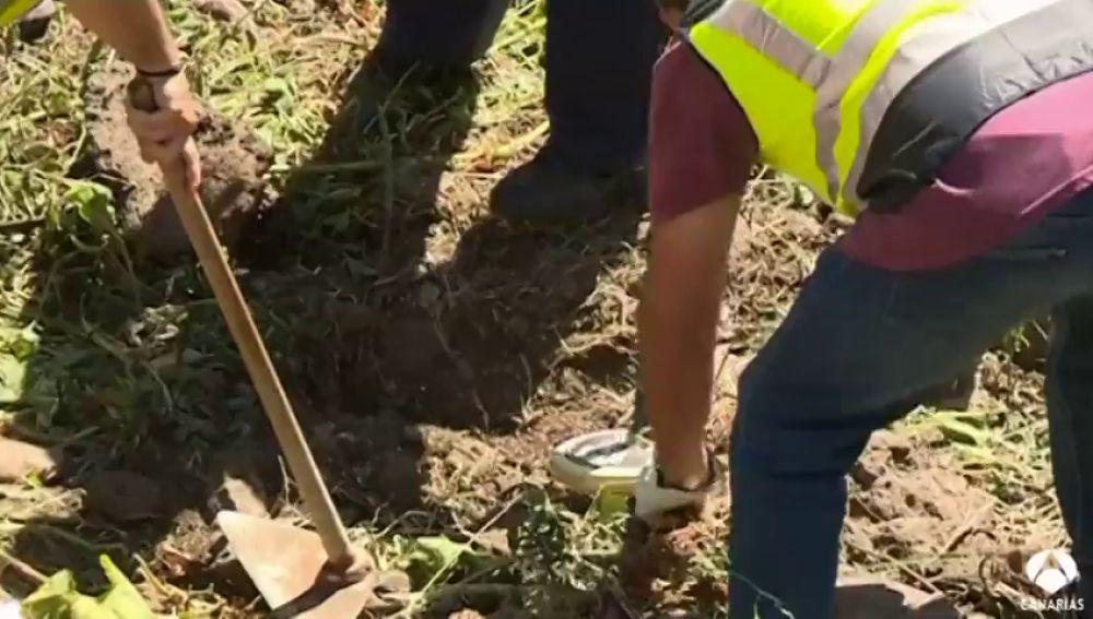 La policía registra un barranco en busca de una pista del crimen