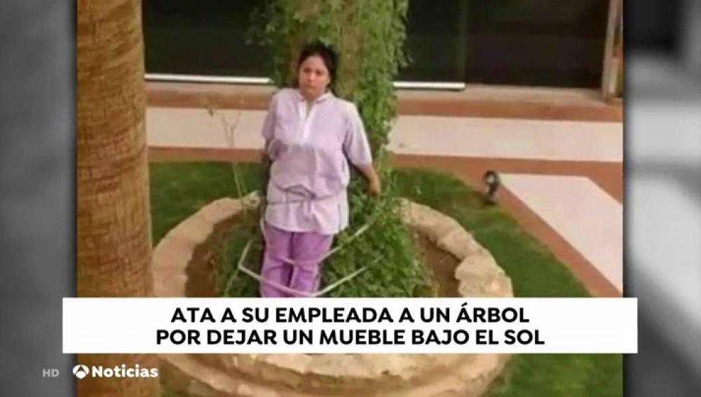 Atan a una empleada doméstica a un árbol como castigo por dejar unos muebles bajo el sol