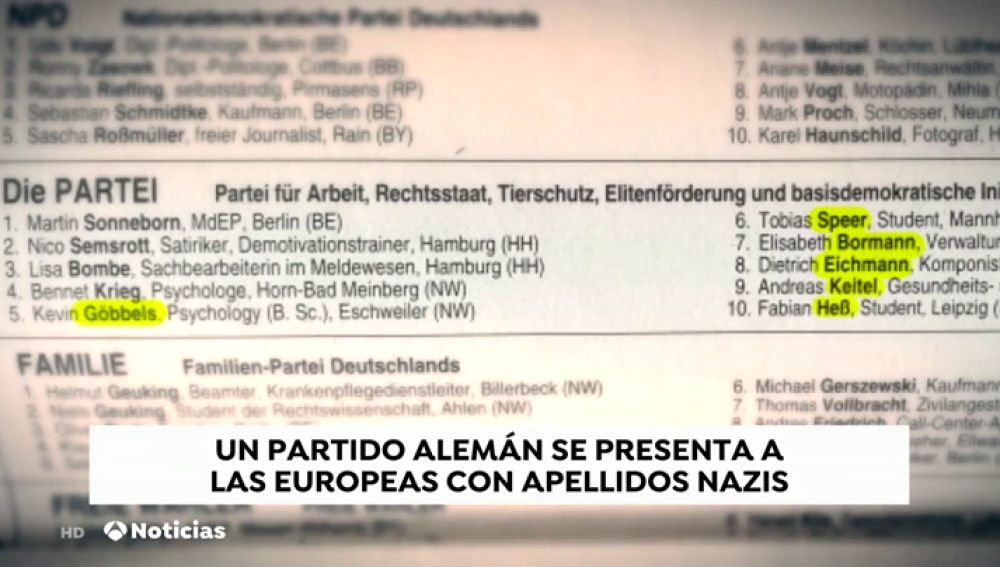 Goebbels, Goering o Speer son algunos de los nombres nazis que ha presentado un partido alemán a las europeas
