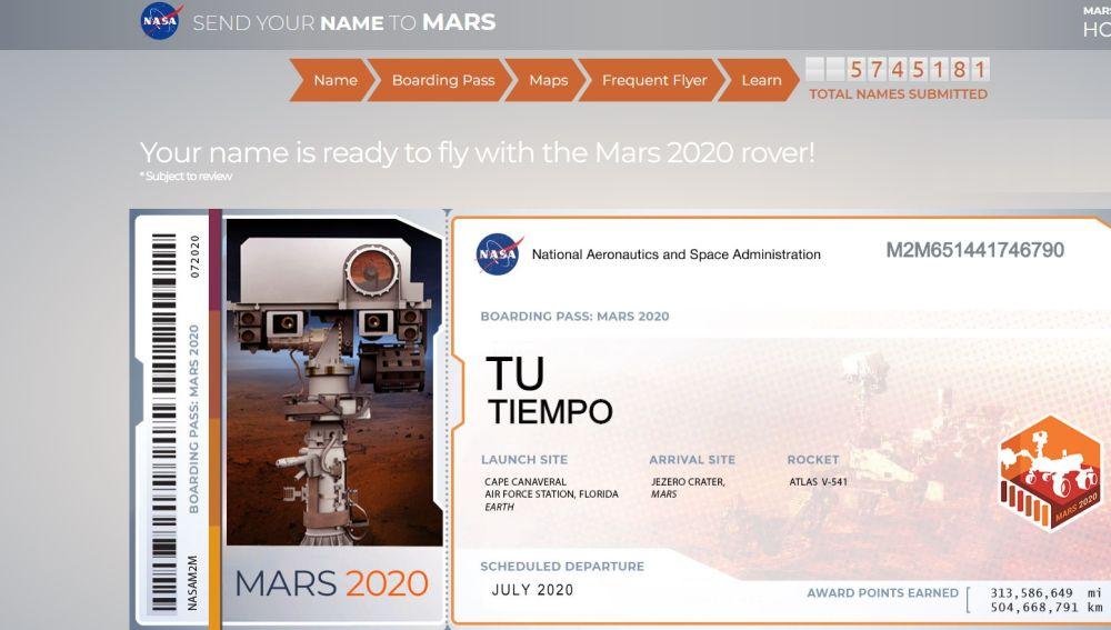 El billete de 'Tu Tiempo' para Marte