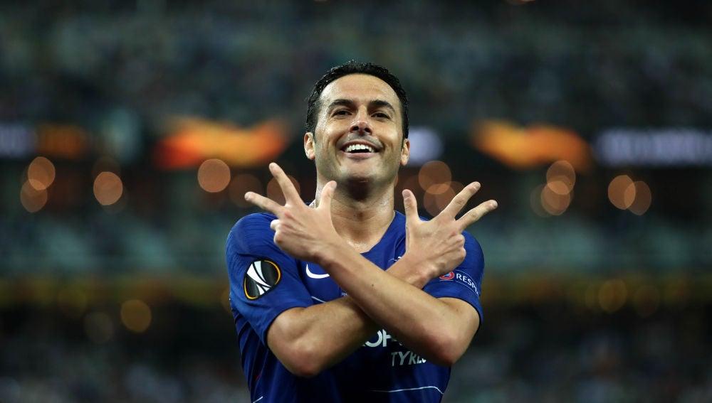 Pedro celebra uno de sus goles con el Chelsea