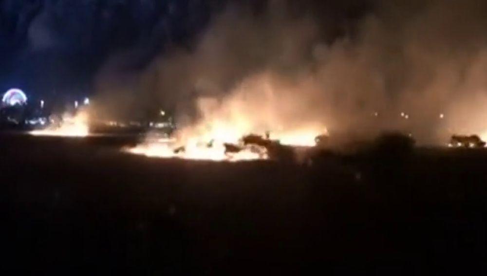 Los fuegos artificiales del comienzo de las fiestas en Cáceres provocaron un incendio en el recinto ferial