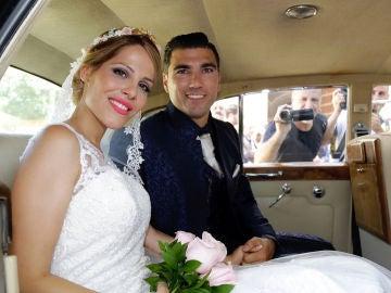 José Antonio Reyes y su esposa Noelia en el día de su boda