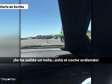 """Así fueron los instantes posteriores al accidente de Reyes grabado por otro vehículo: """"El coche está ardiendo"""""""