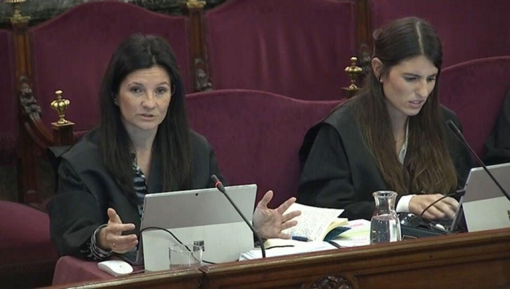 La jefa del departamento Penal de la Abogacía del Estado, Rosa María Seoane, durante el juicio del 'procés'.