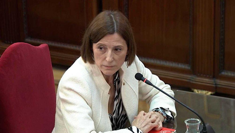 La expresidenta del Parlament, Carme Forcadell, durante el juicio del 'procés'.