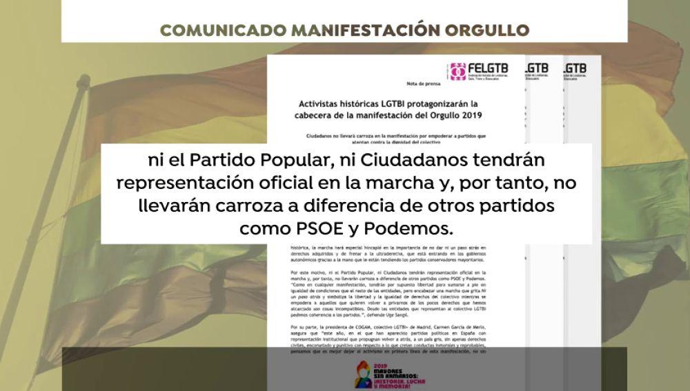 La organización del Orgullo Gay deja sin carrozas a PP y Ciudadanos