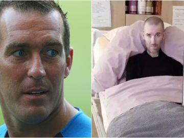 Fernando Ricksen, en su época como jugador y en la cama del hospital
