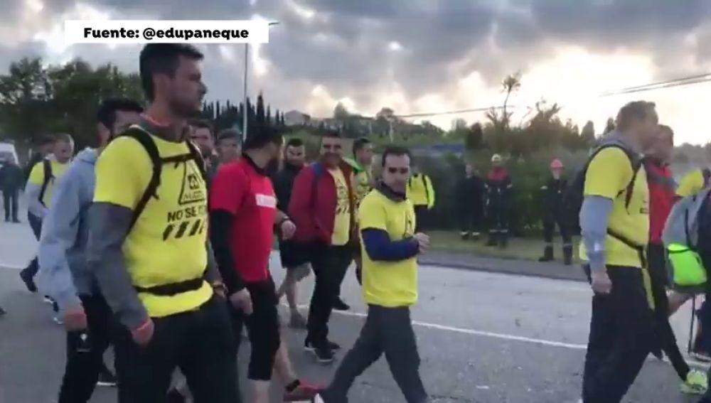 Los empleados de Alcoa de Asturias a Madrid a pie