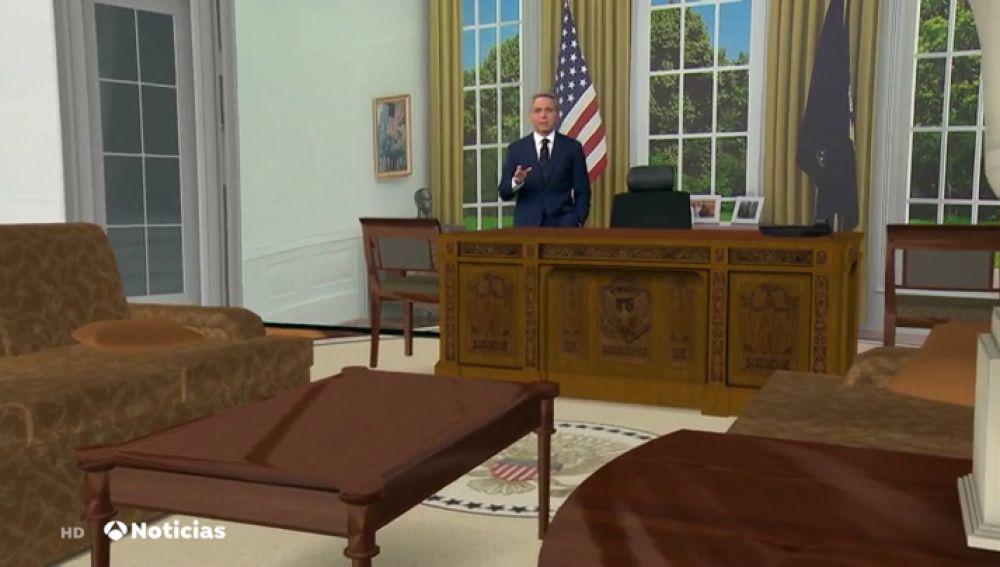 Antena 3 Noticias reproduce el Despacho Oval de la Casa Blanca con realidad aumentada