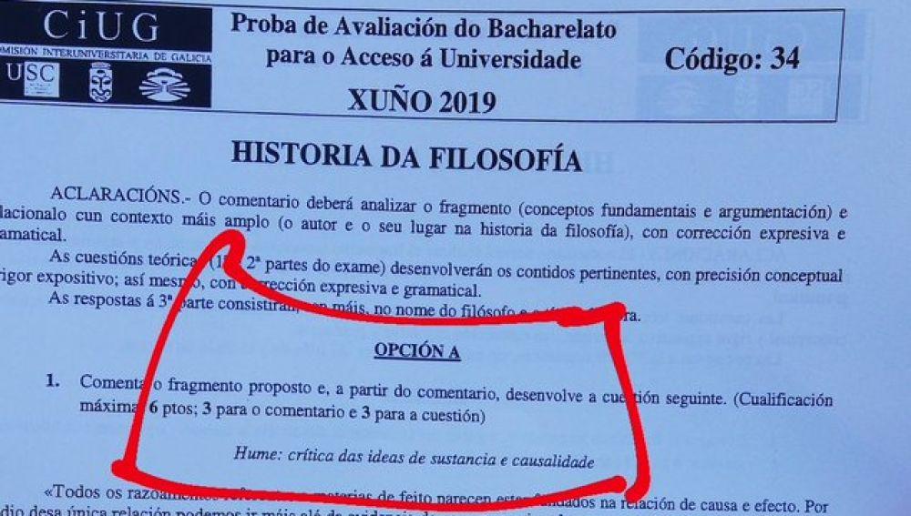 Examen de Filosofía con errores en Galicia