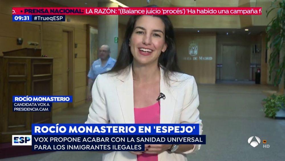 """Rocío Monasterio: """"No puede ser que a los inmigrantes que saltan la valla les de una tarjeta sanitaria universal"""""""