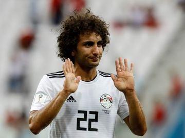 Amr Warda, durante un partido con Egipto