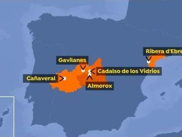 Mapa de los incendios en España