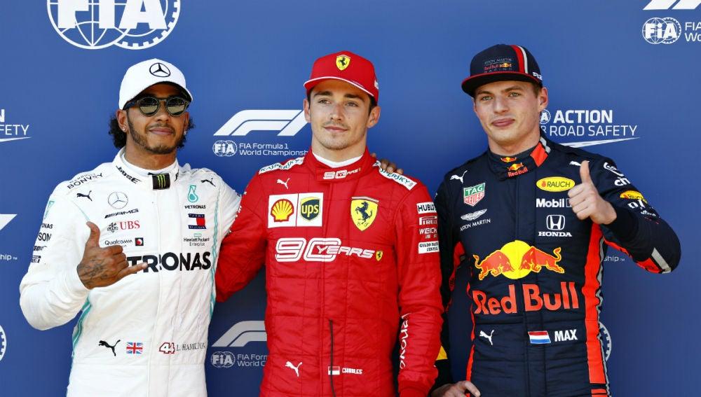 Hamilton, Leclerc y Verstpapen