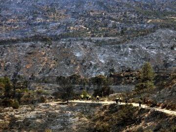 La zona de la Ribera d'Ebre afectada por el incendio