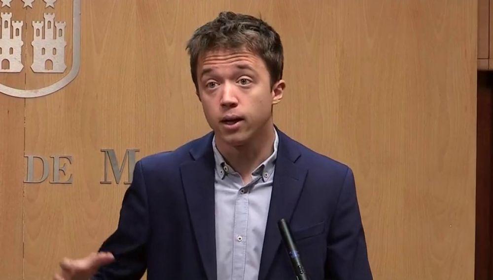 """Errejón pide """"tres votos a Cs"""" para permitir la investidura de Gabilondo"""