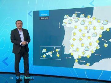 Temperaturas al alza y sol, con nubes en el norte