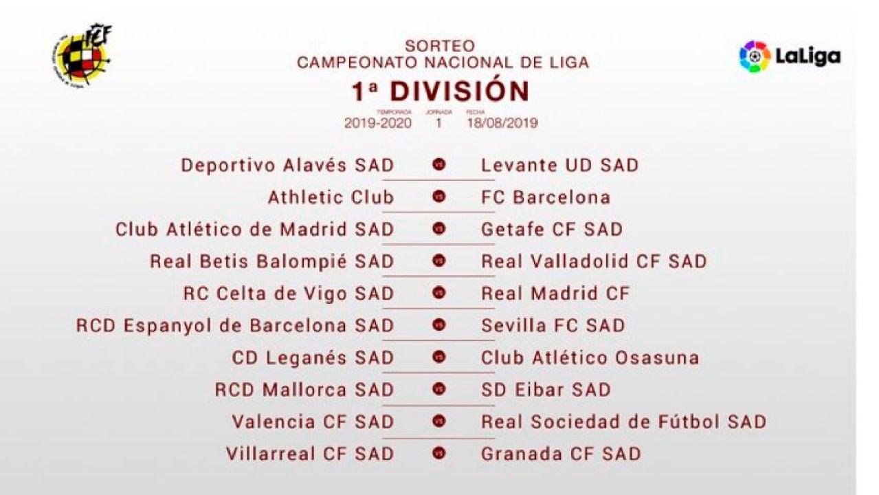Calendario Liga Segunda.Calendario Liga 2019 2020 Las Fechas Clave De La Liga Santander
