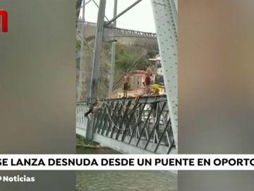 Polémica en Portugal por las imágenes de una joven desnuda tirándose por un puente de Oporto