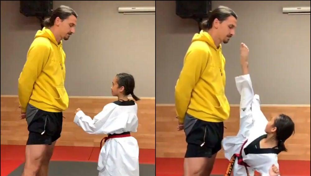 Zlatan Ibrahimovic, inmutable ante la patada de una niña