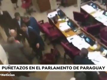 Pelea a puñetazos en el Senado de Paraguay