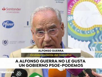 """Alfonso Guerra:  """"Es muy difícil llegar a acuerdos con populistas y nacionalistas que no creen en el sistema democrático"""""""