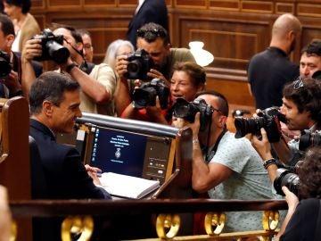 Pedro Sánchez en la sesión de investidura en el Congreso