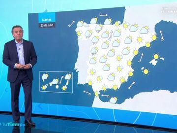 Se mantiene el calor sofocante, con posibles tormentas en el norte y la meseta