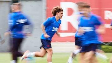 Antoine Griezmann en un entrenamiento con el FC Barcelona