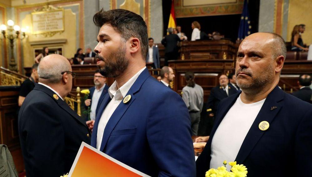 El portavoz de ERC, Gabriel Rufián, a su llegada al debate de investidura