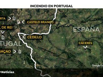 El calor y el viento complican las labores de extinción del incendio en Portugal