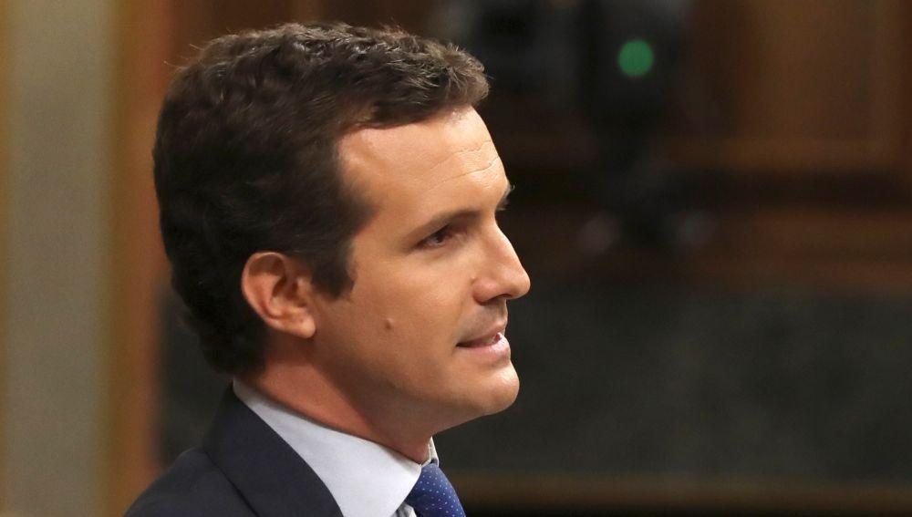 Pablo Casado durante su turno de réplica en el debate de investidura en el Congreso de los Diputados.