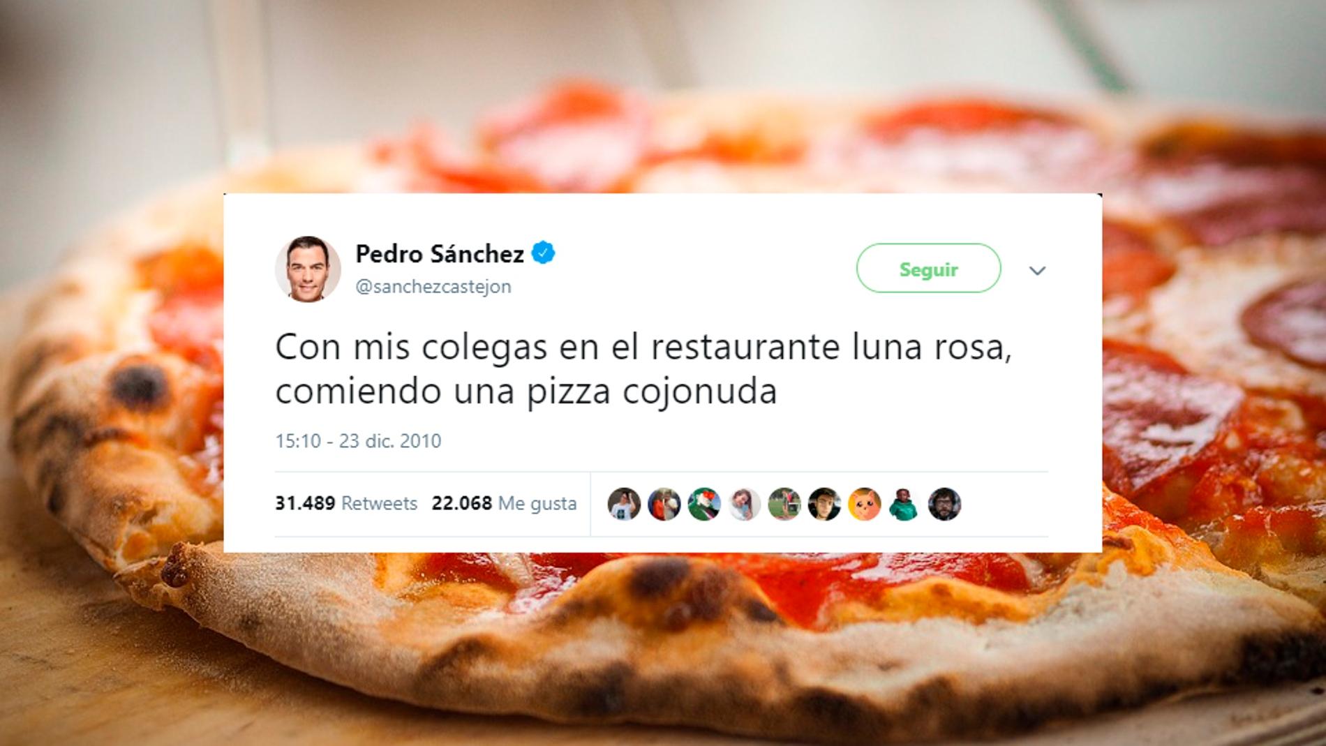 Tuits sobre la pizza cojonuda de Pedro Sánchez