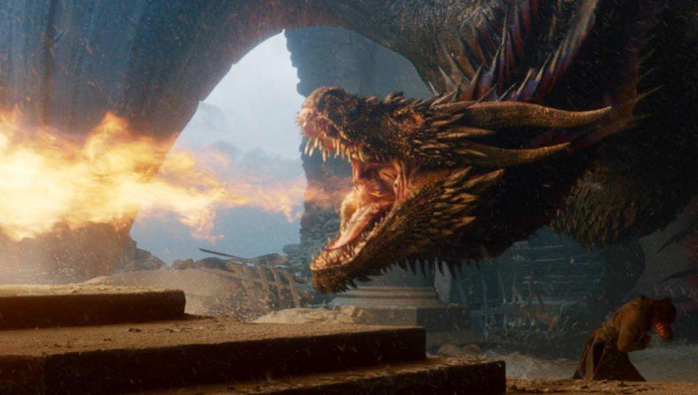 Drogon quemando el Trono de Hierro
