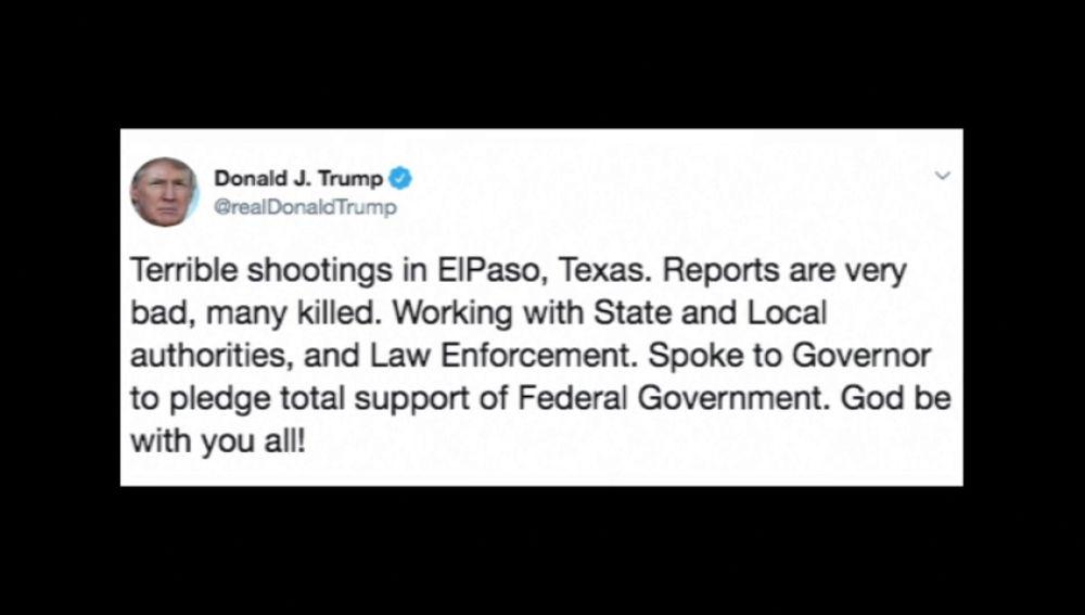 """Trump afirma que hay """"muchos muertos"""" en el """"terrible"""" tiroteo en el centro comercial Walmart de El Paso, en Texas"""