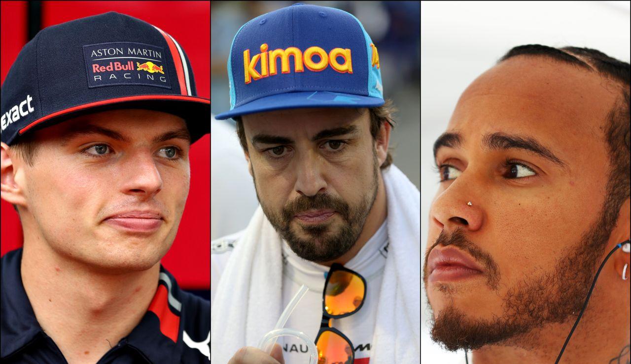 Max Verstappen, Fernando Alonso y Lewis Hamilton
