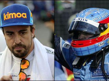 Fernando Alonso en la actualidad y en el GP de Hungría 2003