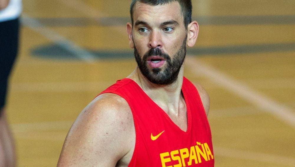Marc Gasol en uno de los entrenamientos con la Selección Española