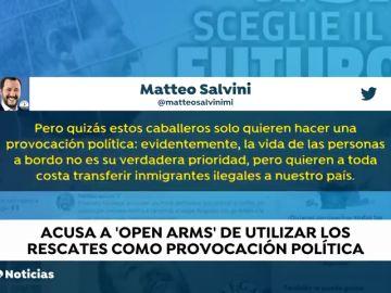 """Salvini acusa al Open Arms de utilizar los rescates como una """"provocación política"""""""