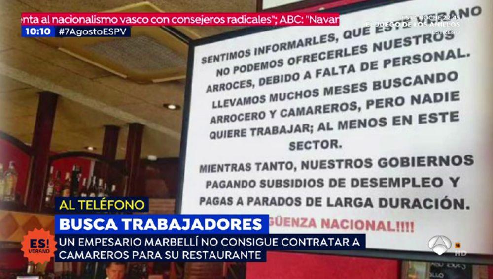 Un empresario de Marbella busca trabajadores para su restaurante