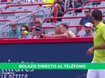 Increíble la puntería de Thiem: da un bolazo al móvil de una fan en mitad del partido