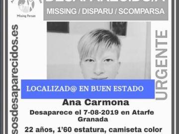Joven desaparecida en Atarfe