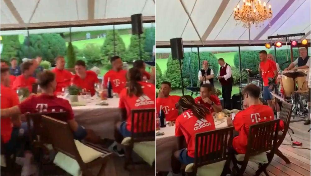La novatada a Lucas durante la cena del Bayern