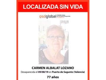 Localizan sin vida el cuerpo de Carmen Albalat Lozano