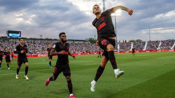 Vitolo celebra el gol de la victoria